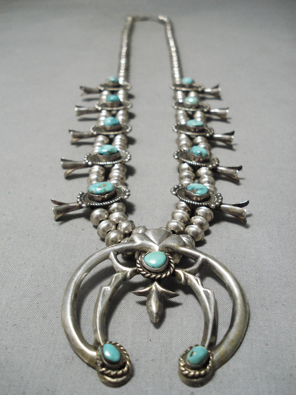 Vintage Native American Navajo Carico Lake Turquoise Sterling Silver Squash Blossom Necklace