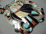 Best Vintage Native American Zuni Inlay Owl Turquoise Sterling Silver Squash Blossom Necklace