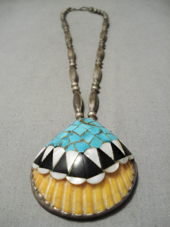 Native American Amazing Vintage Santo Domingo Sterling Silver Turquoise Shell Necklace Old