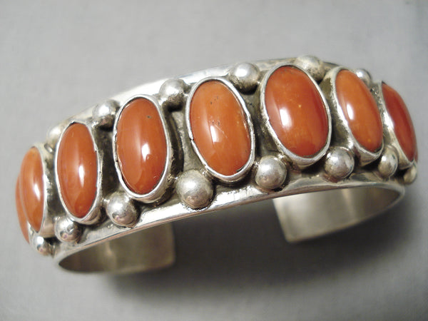 Museum Quality Huge Native American Navajo Red Coral Sterling Silver Stamped Bracelet