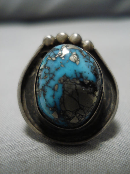 Striking Vintage Native American Navajo Old Morenci Turquoise Sterling Silver Ring Old