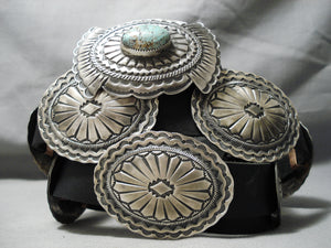 Heavy Native American Navajo #8 Turquoise Sterling Silver Hand Tooled Concho Belt