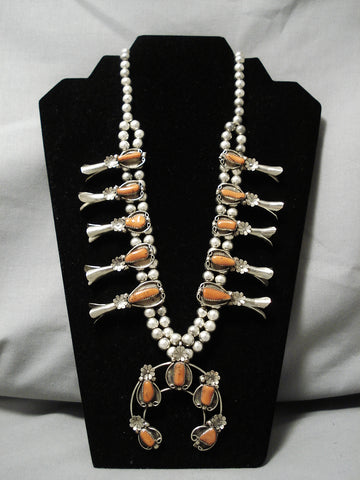 Stunning Vintage Native American Navajo Coral Sterling Silver Squash Blossom Necklace Old