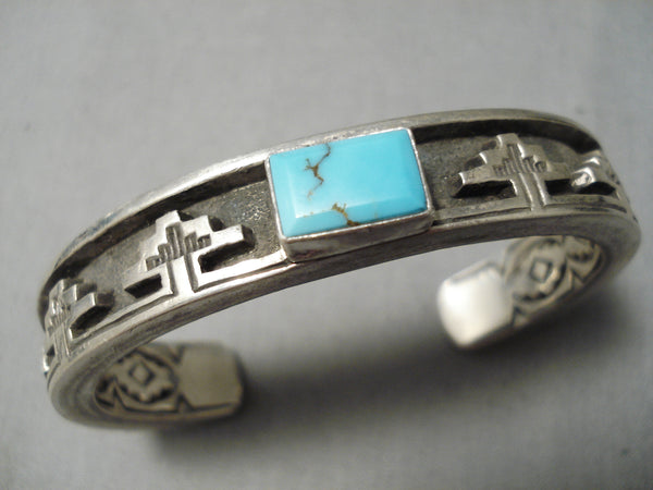 Thicker Heavy Vintage Native American Navajo Cross Turquoise Sterling Silver Pueblo Bracelet