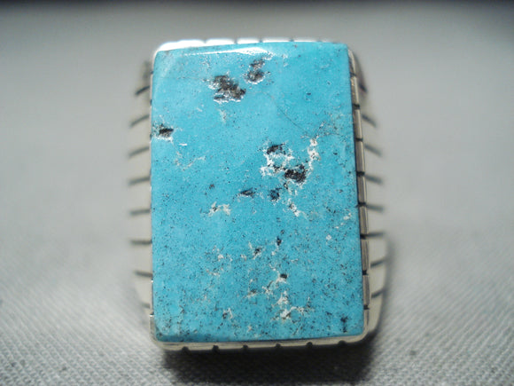 Incredible Native American Navajo Kingman Turquoise Sterling Silver Ring Signed