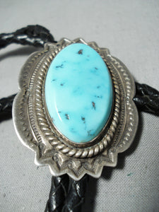 Exceptional Vintage Native American Navajo Sleeping Beauty Turquoise Sterling Silver Bolo Old