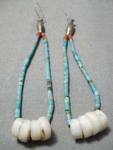 Marvelous Vintage Native American Navajo Turquoise Heishi Coral Sterling Silver Earrings Old