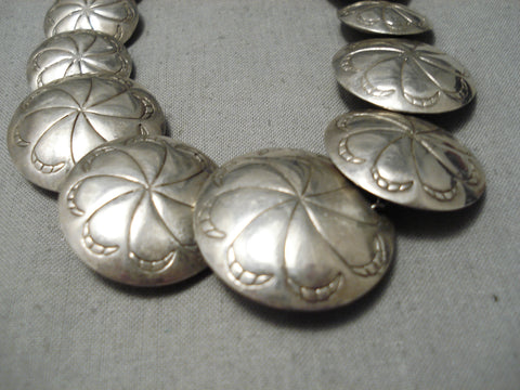 Stunning Vintage Native American Navajo Hand Tooled Sterling Silver Wheel Necklace Old