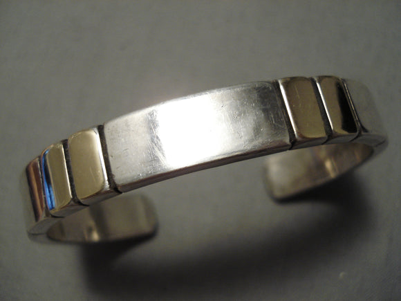 Detailed Thicker Vintage Native American Navajo Jon Nez Sterling Silver 14k Gold Bracelet