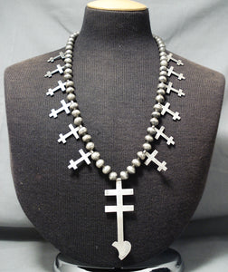 Native American Incredible Vintage Navajo Cross Sterling Silve Rhand Tooled Necklace