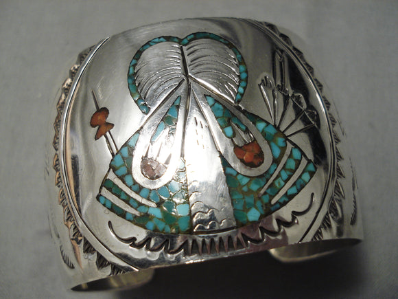 Incredible Hand Tooled Vintage Native American Navajo Turquoise Coral Sterling Silver Bracelet