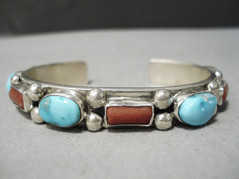 Heavy Thick! Vintage Native American Navajo Carico Lake Turquoise Coral Sterling Silver Bracelet