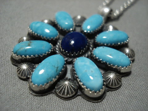 Native American Important Jeanette Dale Sterling Silver Turquoise Necklace
