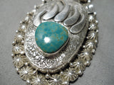 Heavy Vintage Native American Navajo Important Sterling Silver Necklace Pendant