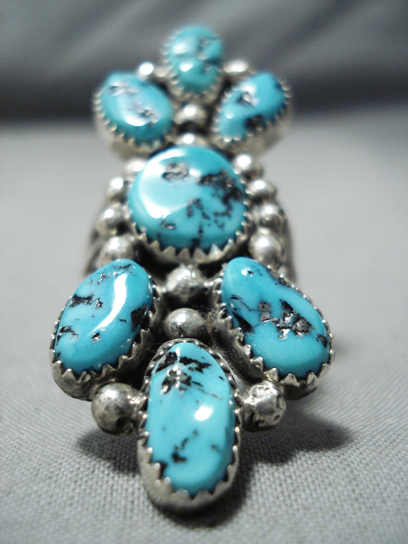 Towering Vintage Native American Navajo Sleeping Beauty Turquoise Sterling Silver Ring