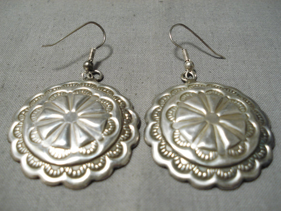 Exquisite Vintage Navajo Sterling Silver Pierced Earrings Native American