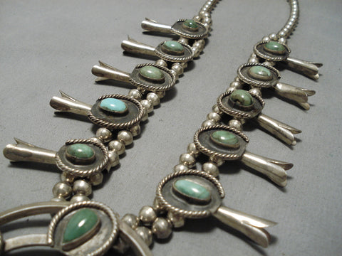 Heavy Vintage Native American Navajo Royston Turquoise Sterling Silver Squash Blossom Necklace