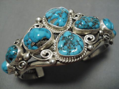 Important Verdy Jake Vintage Native American Navajo Turquoise Sterling Silver Bracelet Old