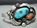Incredible Vintage Native American Navajo Turquoise Red Coral Sterling Silver Bracelet
