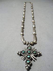 Fascinating Vintage Native American Navajo Turquoise Coral Sterling Silver Cross Necklace