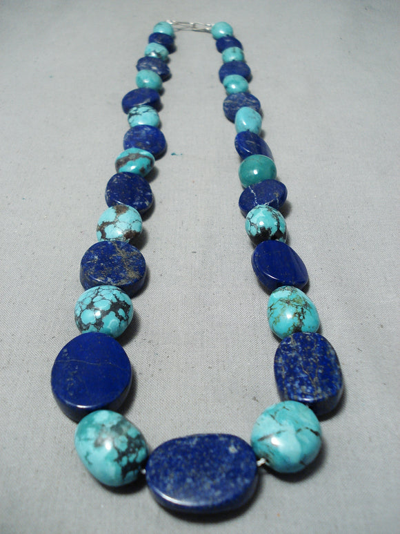Colorful Navajo Turquoise And Lapis Necklace Native American