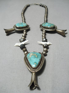 Museum Vintage Native American Navajo Royston Turquoise Bird Fetish Sterling Silver Necklace Old