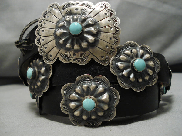 Important Victor Hicks Vintage Native American Navajo Turquoise Sterling Silver Concho Belt