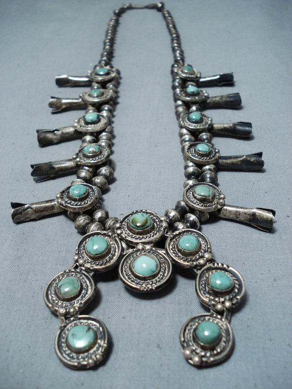 Early Vintage Native American Navajo Royston Turquoise Sterling Silver Squash Blossom Necklace