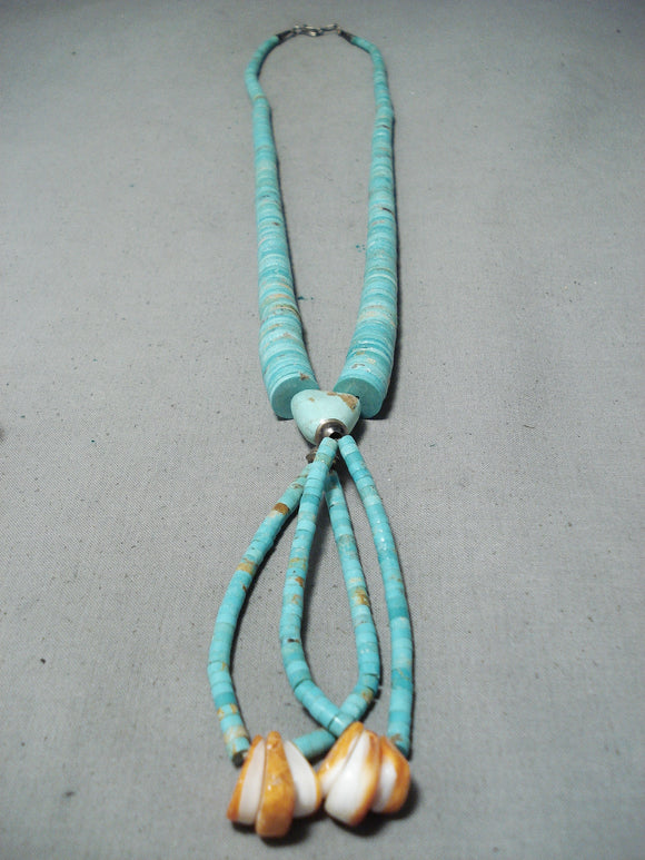 Native American Impressive Vintage Santo Domingo Royston Turquoise Sterling Silver Necklace Old