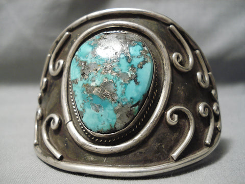 One Of The Biggest Best Vintage Native American Navajo Turquoise Sterling Silver Swirl Bracelet