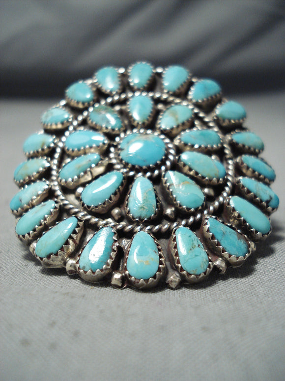 Colossal Turquoise Sun Navajo Sterling Silver Ring Native American
