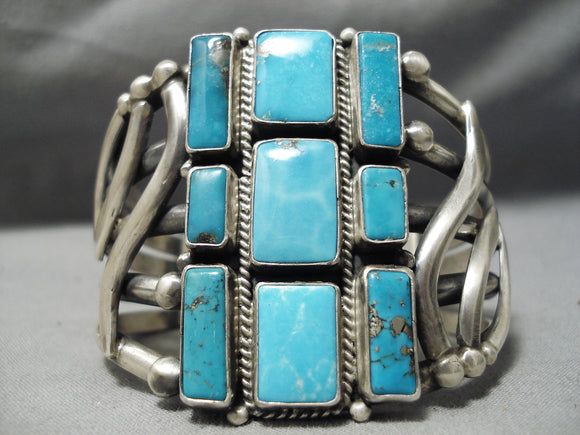 One Of The Best Native American Navajo Verdy Jake Turquoise Sterling Silver Bracelet