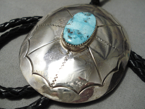 Vivid Blue Turquoise Vintage Native American Navajo Sterling Silver Concho Bolo Tie