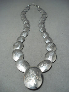 Superb Vintage Native American Navajo Sterling Silver Pillows Necklace