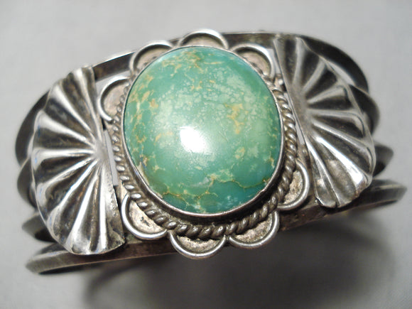 Early Vintage Native American Navajo Cerrillos Turquoise Sterling Silver Flank Bracelet Old