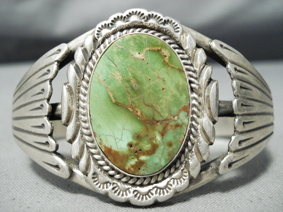 Extraordinary Vintage Native American Navajo Damale Turquoise Sterling Silver Bracelet Old