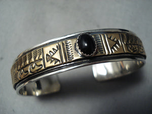 Dramatic Navajo Black Onyx Sterling Silver Bracelet Native American