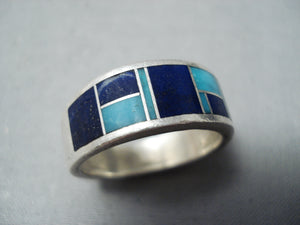 Eyecatching Vintage Native American Navajo Turquoise Lapis Inlay Sterling Silver Ring Old