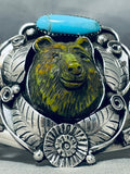 Very Important Bear Hand Carved Fran Gomez Sterling Silver Turquosie Bracelet