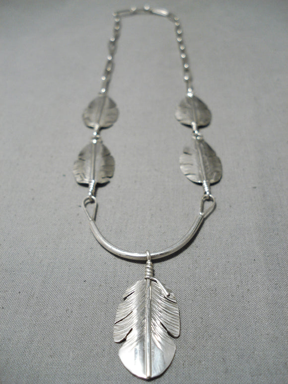 Detailed Intricate!! Navajo Sterling Silver Native American Feather Necklace