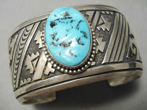 Authentic Bigger Vintage Native American Navajo Thomas Singer Turquoise Sterling Silver Bracelet