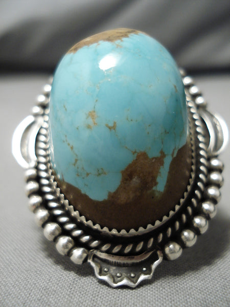 One Of Biggest Vintage Native American Navajo Domed #8 Turquoise Sterling Silver Ring- Huge!!