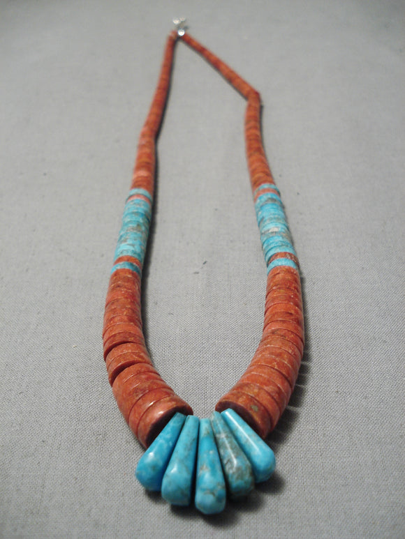 Native American Rare Vintage Santo Domingo Graduating Coral Turquoise Sterling Silver Necklace