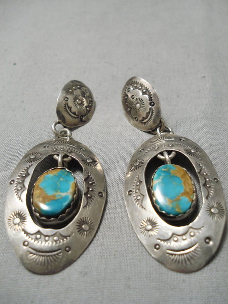 Superlative Vintage Navajo Barton Sterling Silver Native American Earrings