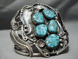 One Of Best Vintage Native American Navajo Leaf Sterling Silver Garden Turquoise Bracelet Old