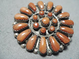 Wonderful Vintange Zuni Coral Sterling Silver Pin/ Pendant Native American
