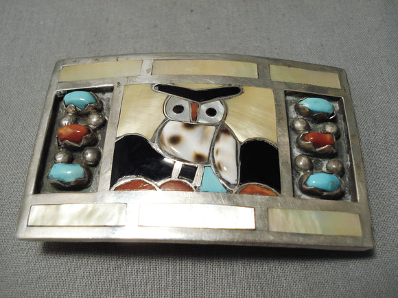 Important Vintage Native American Zuni Filbert Gasper Turquoise Sterling Silver Buckle Old