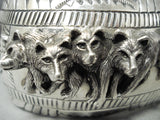 Pack Of Wolves Native American Navajo Sterling Silver Bracelet Cuff