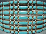 Native American Incredibly Intricate Vintage Zuni Turquoise Sterling Silver Bracelet