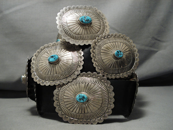 Museum Quality Vintage Native American Navajo Turquoise Sterling Silver Concho Belt Old